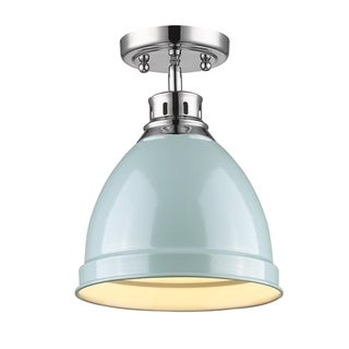 Golden Lighting Duncan Chrome Flush Mount With Seafoam Shade