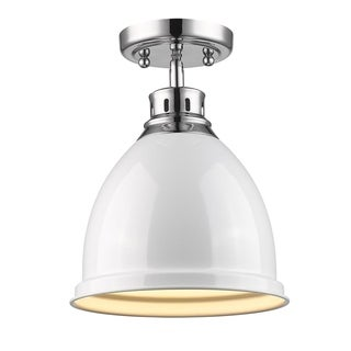 Golden Lighting Duncan Chrome Flush Mount with White Shade