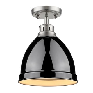 Golden Lighting Duncan Pewter With Black Shade Flush Mount Light