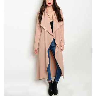 JED Women's Polyester Long-sleeved Open-front Long Trench Coat