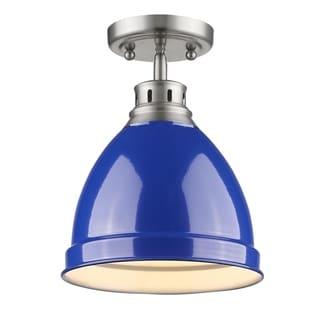 Golden Lighting Duncan Pewter Flush Mount With Blue Shade