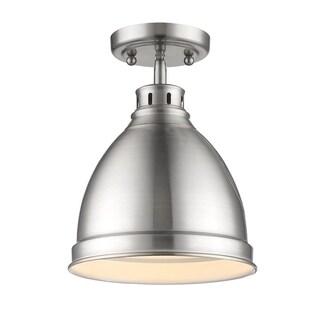 Golden Lighting Duncan Chrome-finished Steel/Pewter/Brass Flush Mount Pendant Fixture
