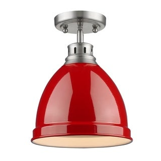 Golden Lighting Duncan Pewter Metal and Red Shade Flushmount Light