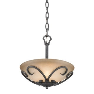 Golden Lighting Madera Black Iron/Toscano Glass Semi-Flush Convertible Fixture
