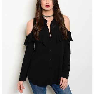 JED Women's Cold-shoulder Ruffled Long-sleeve Black Button-down Shirt