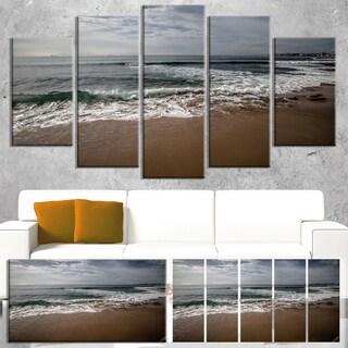 Designart 'Soft Waves of Sea on Sandy Beach' Modern Seashore Canvas Wall Art Print
