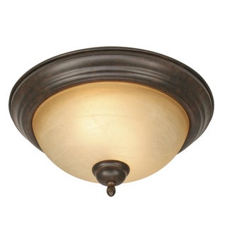 Golden Lighting Riverton Black Steel/Glass Peppercorn-finished Flush Mount Fixture
