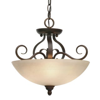 Golden Lighting Riverton Peppercorn Steel Convertible Semi-flush With Linen Swirl Glass