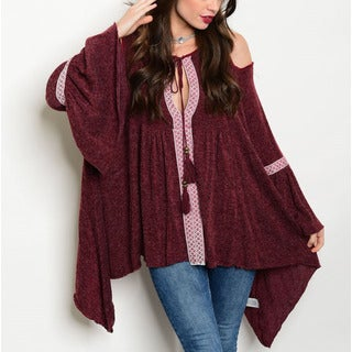 JED Women's Bell Sleeve Boho Knit Tunic Top
