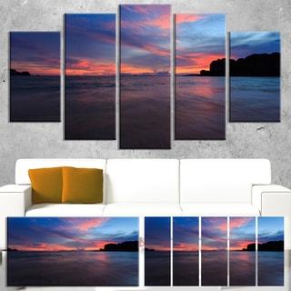 Designart 'Sunset at Railay Beach Andaman Sea' Modern Seashore Canvas Wall Art Print