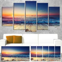 Designart 'Beautiful Sunrise over Blue Sea' Modern Seashore Canvas Wall Art Print