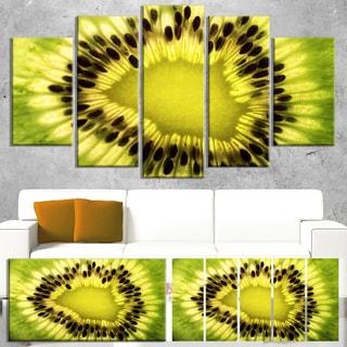 Designart 'Green Kiwi Seeds and Inside Pattern' Modern Canvas Wall Art Print