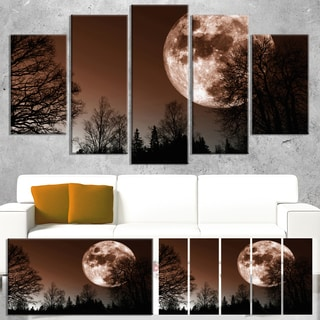 Designart 'Red Moon Rise over Dark Trees' Landscape Artwork Canvas Print
