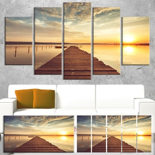 Designart 'Sea Pier under Beautiful Cloudscape' Modern Bridge Canvas Wall Art