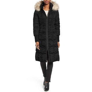 T. Tahari Women's Elizabeth Black Ruched Puffer Coat
