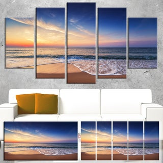 Designart 'Beautiful Blue Cloudscape Over Sea' Modern Seashore Canvas Wall Art Print