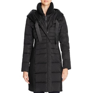 T. Tahari Women's Quinn Black Down 3/4 Puffer Coat