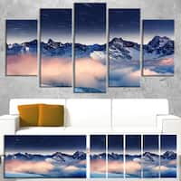 Designart 'Milky Way Over Frosted Mountains' Landscape Artwork Canvas Print - White