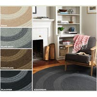 Banded Wool Braided Reversible Rug USA MADE