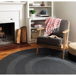 Banded Wool Braided Reversible Rug USA MADE - 4' x 6'