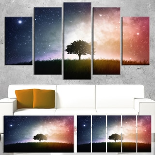 Designart 'Single Tree Space Background' Modern Trees Canvas Wall Art