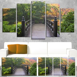 Designart 'Wood Bridge at Japanese Garden In Fall' Large Bridge Canvas Wall Artwork