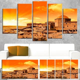 Designart 'Wonderful Italy Tuscany Hill at Dawn' Extra Large Cityscape Wall Art on Canvas