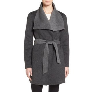 T. Tahari Women's 'Ella' Charcoal Grey Polyester Wool Wrap Coat