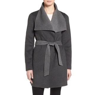 T. Tahari Women's 'Ella' Charcoal Grey Wool Wrap Coat