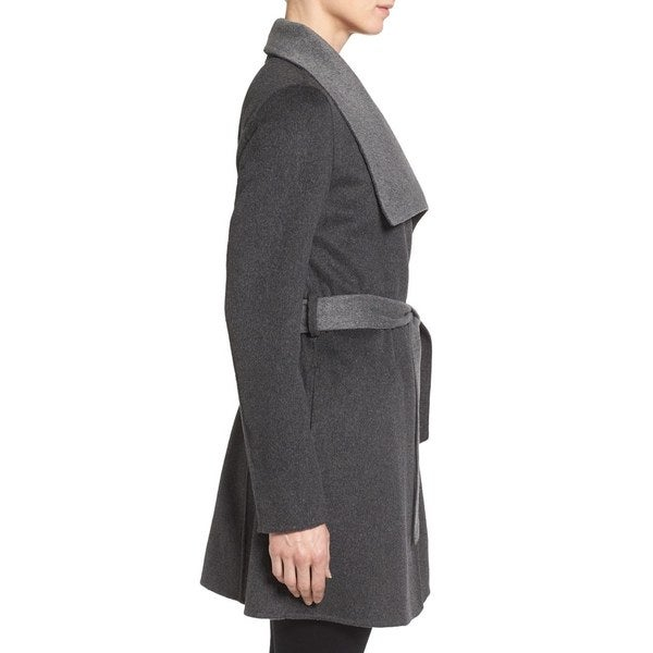 T. Tahari Women's 'Ella' Charcoal Grey Wool Wrap Coat - Free ...