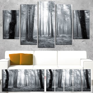 Designart 'Black and White Foggy Forest' Modern Forest Canvas Wall Artwork