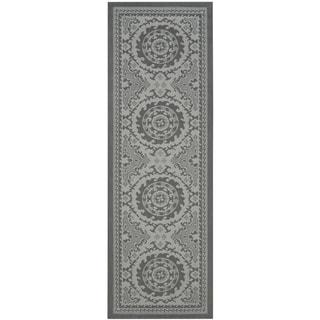 Safavieh Indoor/ Outdoor Courtyard Anthracite/ Light Grey Runner (2'6 x 7')