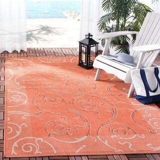 Safavieh Indoor/ Outdoor Courtyard Terracotta/ Cream Runner (2' 7 x 5')