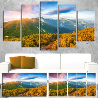 Designart 'Bright Sunrise in Carpathian Mountains' Landscape Artwork Canvas Print
