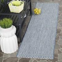 Safavieh Indoor/ Outdoor Courtyard Blue/ Light Grey Runner (2' x 12')