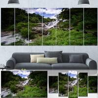 Designart 'Mae Klang Waterfall Thailand' Landscape Wall Art Print Canvas - Green