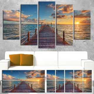 Designart 'Brilliant Sunrise over Sea Pier' Modern Bridge Canvas Wall Art