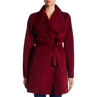 T. Tahari Women's Ella Burgundy Wool Wrap Coat
