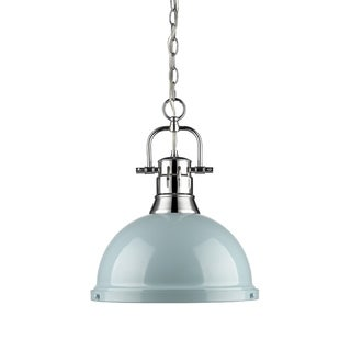 Golden Lighting Duncan Chrome Single Light Pendant with Chain and Seafoam Shade