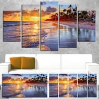 Designart 'Beach-Side Resort With Palm Trees' Seashore Art Print on Canvas