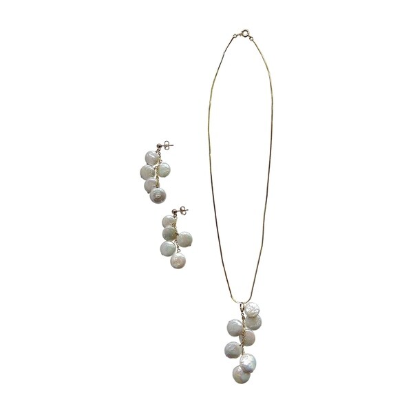 14k Gold Overlay White Coin Pearl Pendant Necklace and Earrings
