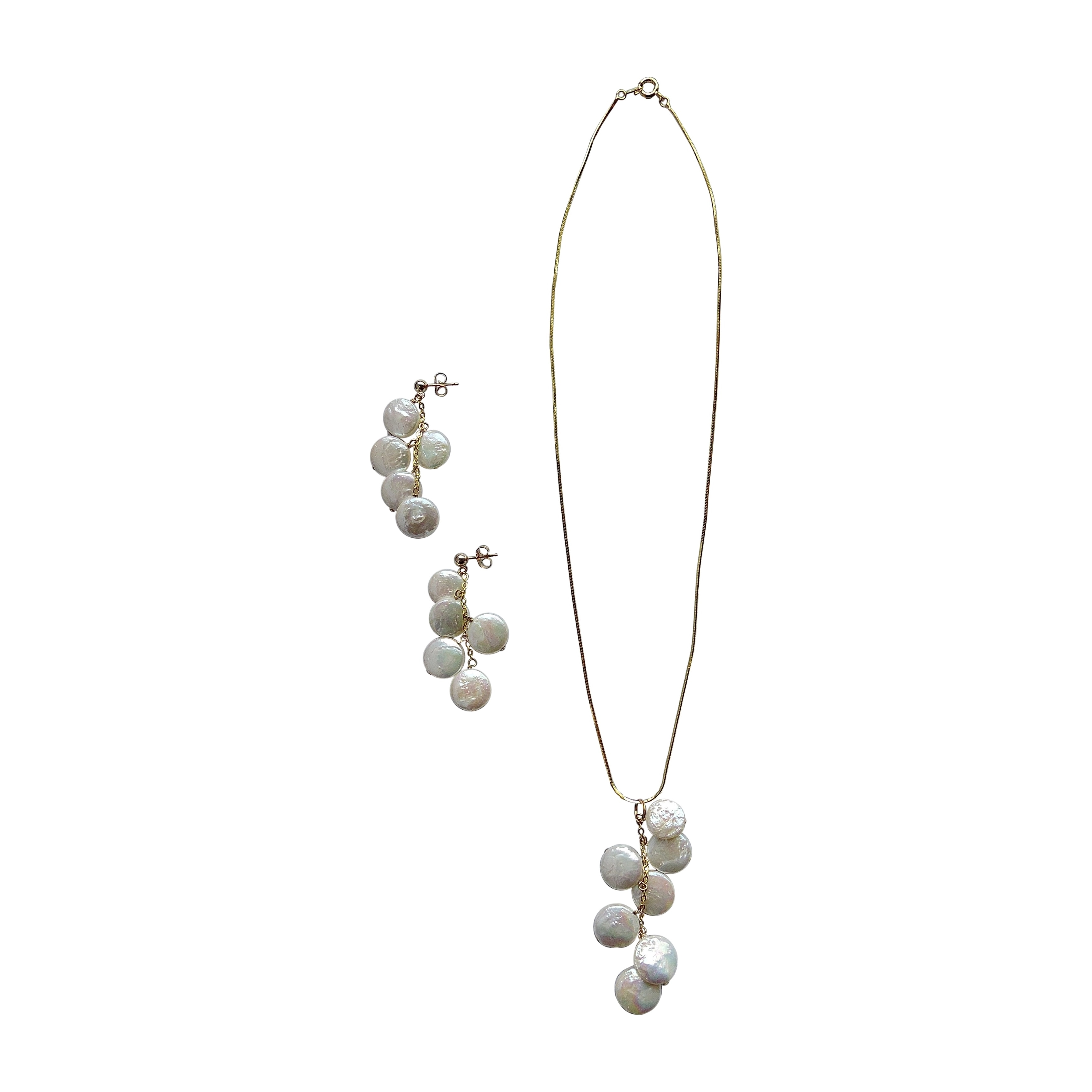 14k Gold Overlay White Coin Pearl Pendant Necklace and Ea...