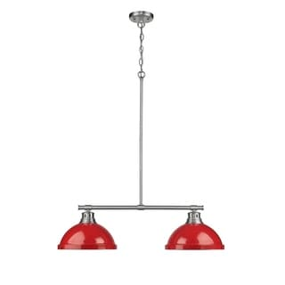 Golden Lighting Duncan Pewter and Red Steel Shades 2-light Linear Pendant Light