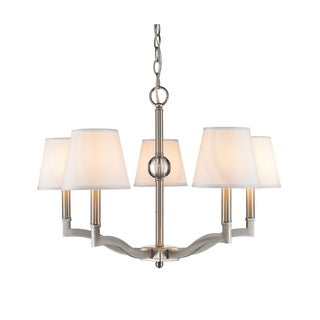 Golden Lighting Waverly Pewter With Classic White Shade Steel 5-light Chandelier