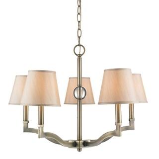 Golden Lighting Waverly Aged Brass Steel 5-light Chandelier With Silken Parchment Shade
