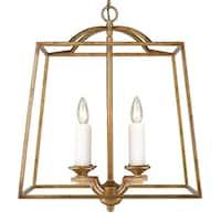 Golden Lighting Athena Grecian Gold Steel and Glass 4-light Pendant