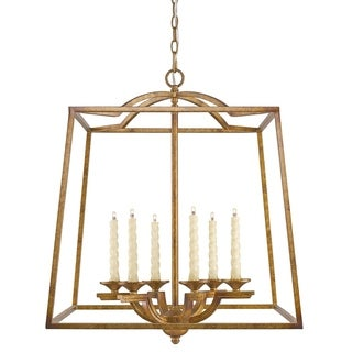 Golden Lighting Athena Grecian Gold Steel and Glass 6-light Hanging Pendant
