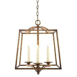 Golden Lighting Athena Grecian Gold Metal and Glass 3-light Hanging Pendant Light