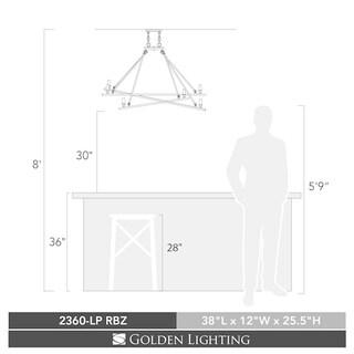 Golden Lighting Garvin Rubbed Bronze Steel Linear Pendant
