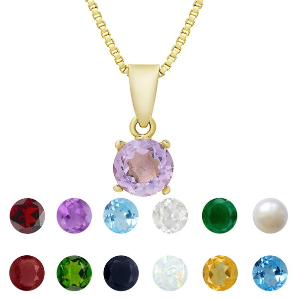 Dolce Giavonna Gold Overlay Gemstone Birthstone Necklace. Opens flyout.